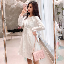 91bdcde93240d 9393# White Linen Maternity Dress 2019 Spring Korean Fashion Clothes for  Pregnant Women Drawstring Slim Waist Pregnancy Clothing