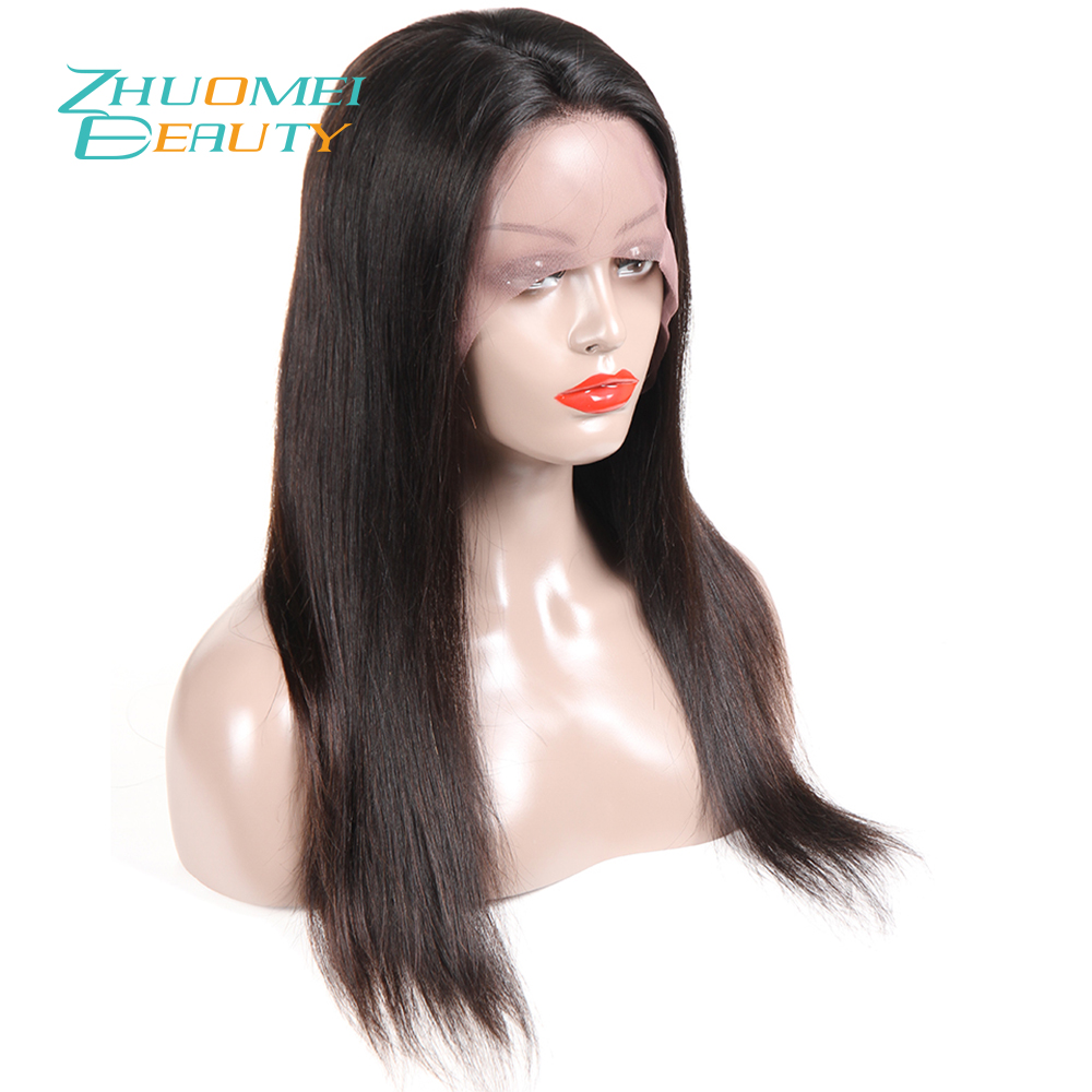 Zhuomei BEAUTY 130% Density Lace Front Wigs With Baby Hair Pre Plucked Remy Hair Peruvian Straight Lace Front Human Hair Wigs