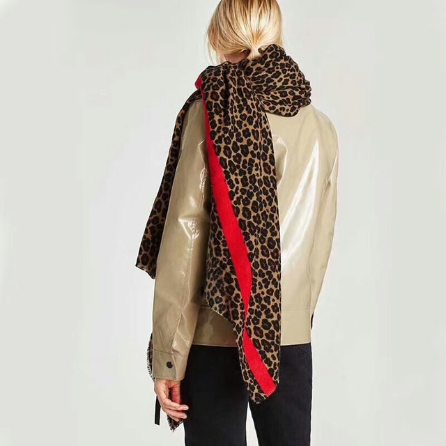8961d7d37b8cf New 2018 designer animal print women winter warm scarf leopard fashion  shawls foulard femme bandana 2018