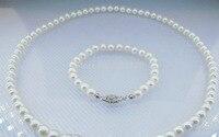 Jewelry 00720 5 5.5mm white akoya genuine pearl jewelry set necklace 16 bracelet 6 gold