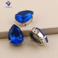 YANRUO 4320S Drop Capri Blue Glass Crystal Rhinestones Sewing Crystals Droplet Sew On Claw Rhinestone Fancy Stones