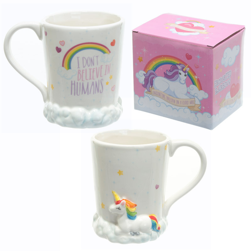 New Unicorn Mug 3D Ceramic Coffee Ceramic Cup with Rainbow and White clouds I Don t