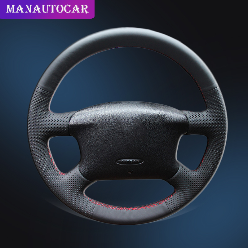 Car Braid On The Steering Wheel Cover for Volkswagen VW Passat B5 1996 2005 Golf 4 1998 2004 Seat Alhambra Hand Sewing Leather-in Steering Covers from Automobiles & Motorcycles