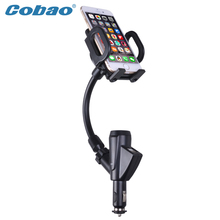 Cobao universal USB car charger mobile phone accessories holder stand charging mount holder for Iphone 5s 6 Galaxy smartphone