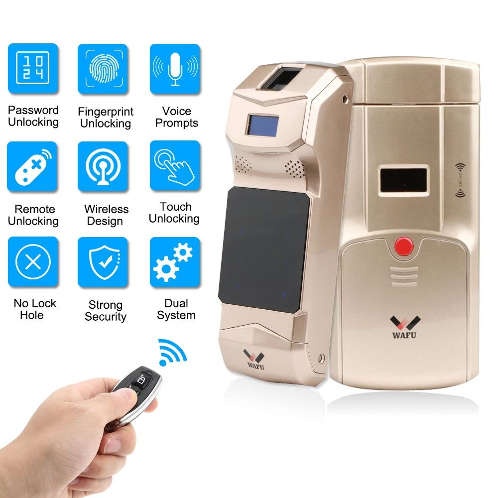 WAFU Wireless Smart Invisible Fingerprint Remote Lock Keyless Entry Door Lock Security Anti-theft Locks with Fingerprint Keypad