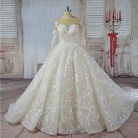 Robe de Noiva manches longues robe de Bal Vintage Robe De Mariage Spécial Conception de Dentelle Nude Tulle Manches Robe De Mariage 2017 de mariée