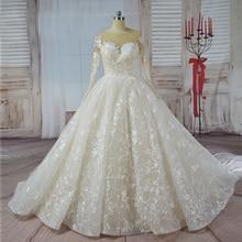 Vestido de Noiva long sleeve Ball Gown Vintage Robe De Mariage Special Lace Design Nude Tulle Sleeve Wedding Dress 2017 Bridal