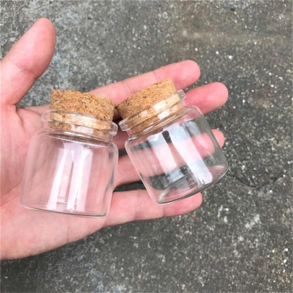 Capacity 50ml 47x50x33mm Bottles With Cork Transparent Glass Bottles Vials For Wedding Holiday Decoration Christmas Gifts