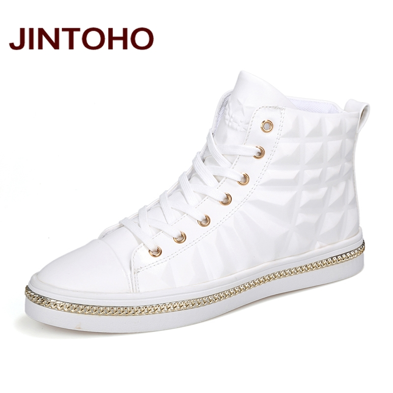 JINTOHO High Quality PU Leather Men Ankle Boots Fashion Glitter Leather Male Boots Winter Men Booties Brand Men Shoes ...