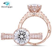 DovEggs Gracefully 14K 585 Rose Gold Center 2ct 8mm F Color Moissanite Vintage Wedding Ring with Accent for Women цена в Москве и Питере