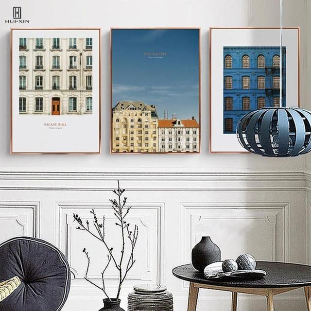 € 3.91 47% de réduction|La Brève Composite Photos De La Vieille Ville Bleu  D\'attente fenêtre Rouge Chaud Mur Décoratif Toile Affiches Peinture Pour ...
