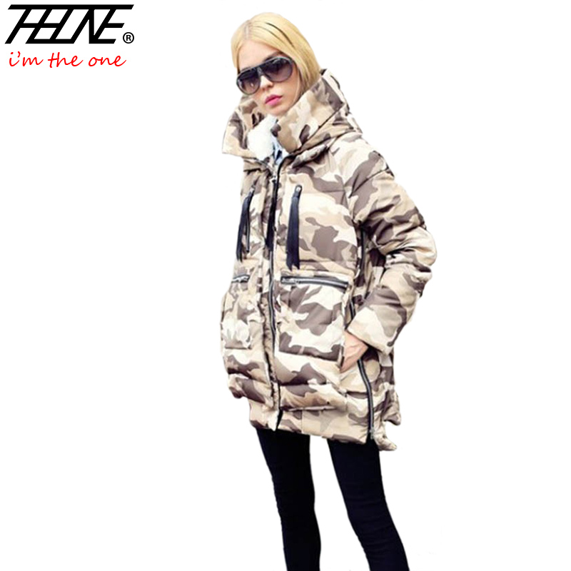 New Winter Women Camouflage Parka Down Jacket Coat Long Hooded Warm Outwear Fashion Thick Overcoat Military Design thick hooded down jacket women slim print long winter coat camouflage y160