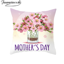 Fuwatacchi Pink Roses Mother's Day Cushion Cover Festival Design For Mom Throw Pillow Cover Best Gifts For Mum Pillowcases