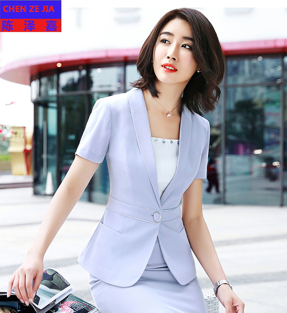 Good Quality Women Uniform Short Sleeve Dress Suits Fashion Slim