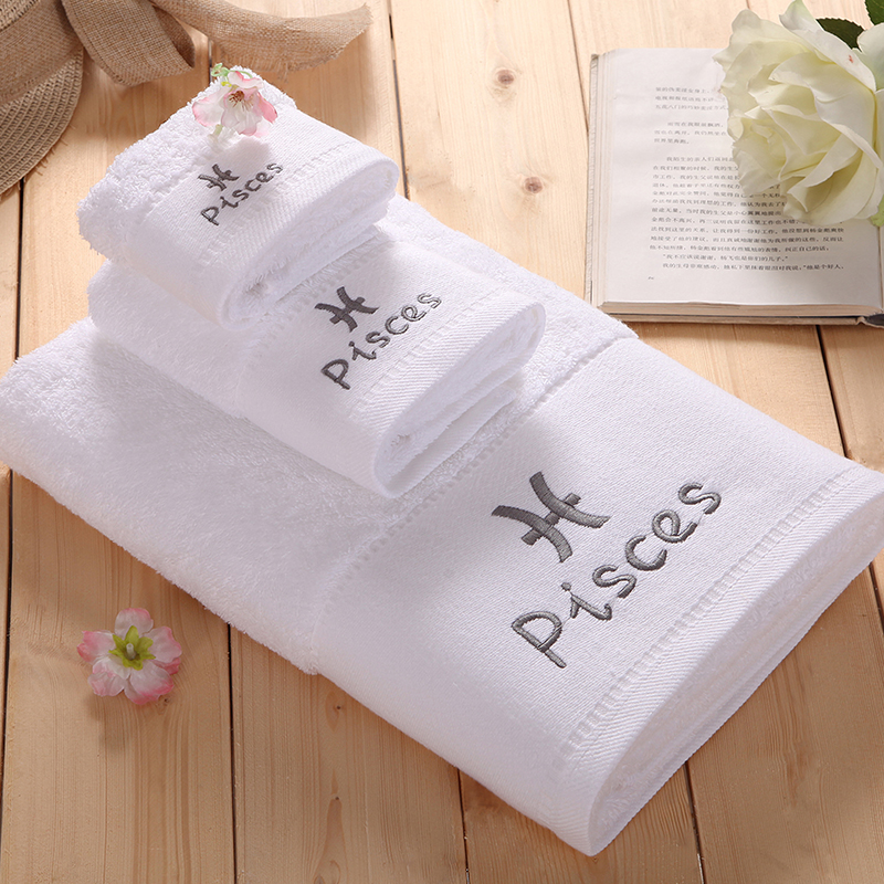 3 Piece 100 Cotton White Towel Set Constellation Letter Embroidery Square Face Bath Towels
