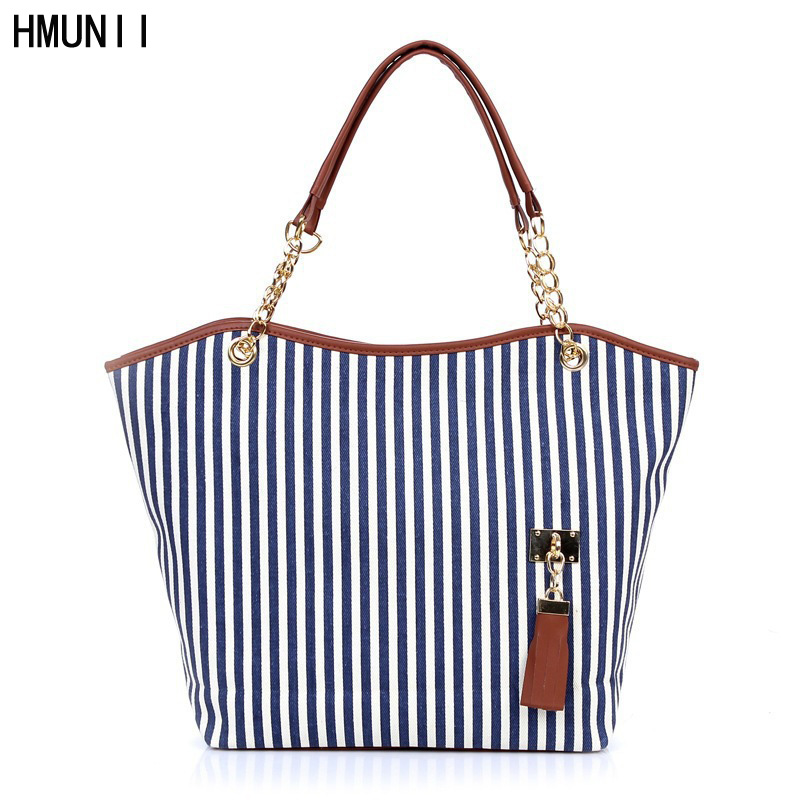 HMUNII Striped Casual Tote Women Canvas Handbag Casual Single Shoulder Shopping Bags Beach Zipper Large Bag Sac A Main Bolsa