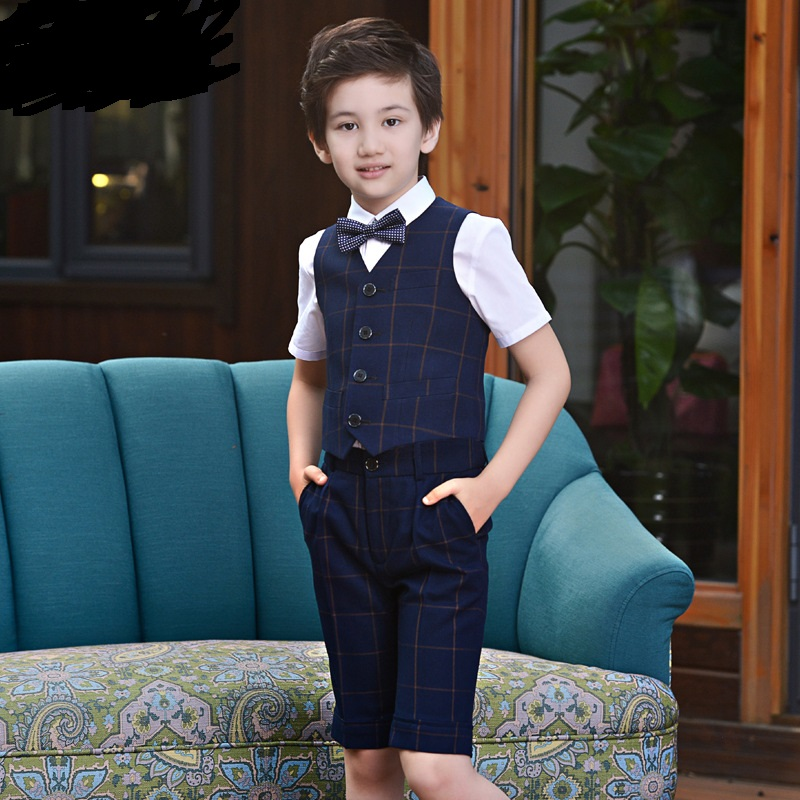 T016 plaid Vest Shorts boy's hostess children's horse clip Suit Children's Piano Costume T-shirt+Shorts+Vest+Tie 4pcs Boy Suit anime sakura akizuli nakuru cosplay costume blue suit shirt coat skirt tie d