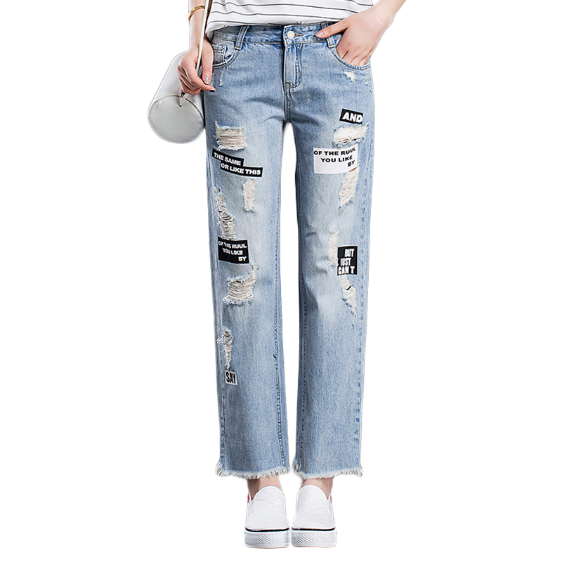 Summer Female Straight Denim Pants Fashion Letter Print Hole Jeans Korean Style Mid Waist Vintage Retro Jeans Ladies Loose Pants