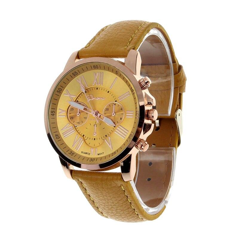 21cb4394a13 Splendid Qualidade Platina Genebra Assistir Mulheres de Couro PU relógio de  pulso casual dress watch reloj senhoras presente Moda Romana ouro