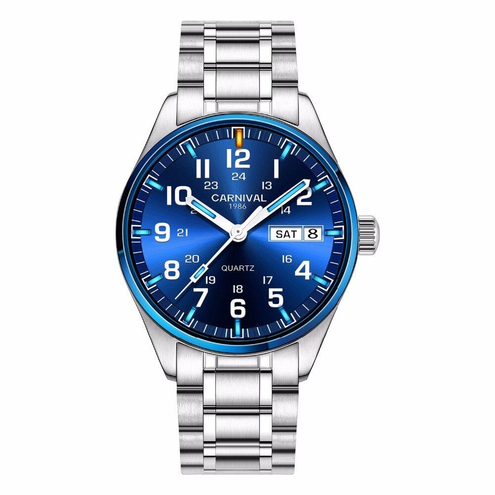 Carnival tritium T25 luminous Double calendar military Switzerland Quartz watch men luxury brand watches waterproof clock 2017 - 6