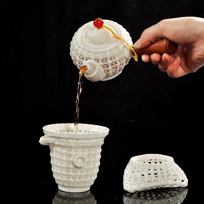 Kreative Hand woven Porzellan tee set Exquisite hohl keramik Kung Fu tee set Dehua weißem porzellan tee set hohe ende tee geschenk - 4
