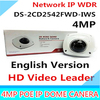 Free Shipping English Version DS 2CD2542FWD IWS Audio 4MP WDR Mini Dome Network Camera With WIFI