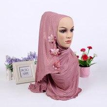 Mode Een Stuk Moslim Shimmer Bloem HIJAB Een Ronde Instant HOED (nieuwe kleuren voorraad nu. opmerking bloem patroon willekeurig)