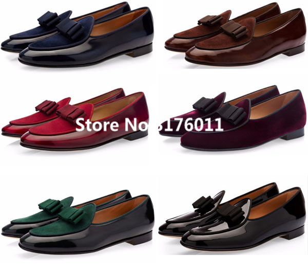 2017 Zapatos Hombre Fashion Designer Elegant Men Mocasin Blue Brown Red Office Shoes Patent Leather Bow Knot Dress Loafer In S Casual From