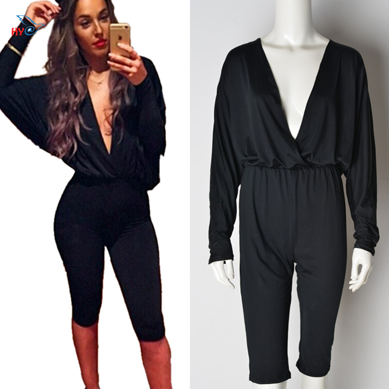 Rompers Women Jumpsuit 2016 Sexy Short Club Party Black Jumpsuit Plus Size Fashion Summer Style Black Deep V-Neck Batwing Sleeve