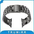 22mm 24mm substituição pulseira de aço inoxidável pulseira pulseira de banda para 38mm 42mm iwatch apple watch sport edition preto prata