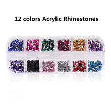 2500pcs 2mm Rhinestones 3D Nails Accessoires Acrylic Round Colorful Glitters DIY Crystal Nail Art Decorations