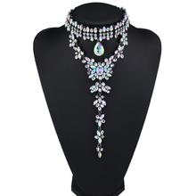 2017 New Design AB Multicolor Rhinestone Collar Choker Necklace Women Maxi Necklace Flowers Pendant Fashion Jewelry Wholesale