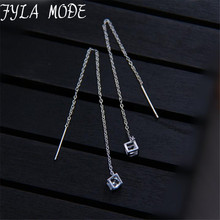 Fyla Mode 2017 New Fashion Magic Square Earrings 925 Sterling Silver Fine Ear Line Long Earring