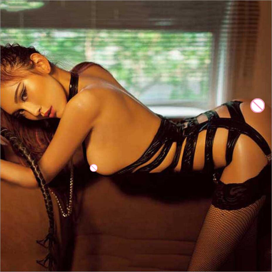 2018 New Garter Belt Leotard+bracelet Women Sexy Lingerie Leather Erotic Lingerie Exposed Bust Cosplay Bandage Sexy Costumes 653
