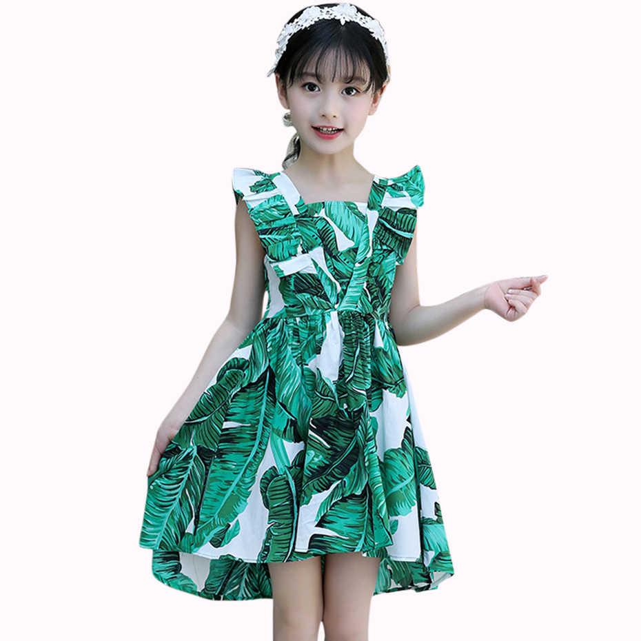 e38daf43e8388f2 Платья для девочек с принтом листьев, праздничное платье для девочек, летнее  подростковое детское платье