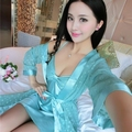 2016 Spring Summer Fall Women Silk Sleepwear Sets of Robe & Nightgown Lady Home Casual Dress Female Bathrobe Lover Sexy Lingerie