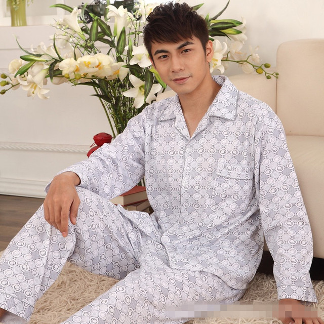 Spring and Autumn Thick Knitted Cotton Pajamas Wholesale Men's Leisure Long-sleeved Household Sleepclothes