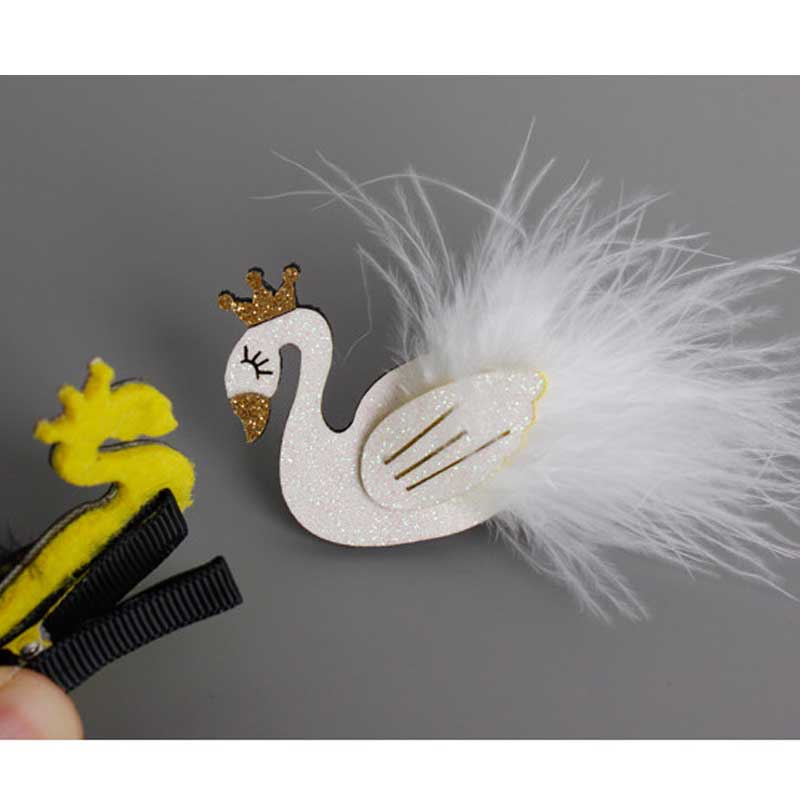 Glitter White and Black Swan Hair Clip with Gold Crown Cartoon Animal Goose  Barrette with Further Princess Hairpin Headwear LBin Hair Accessories from