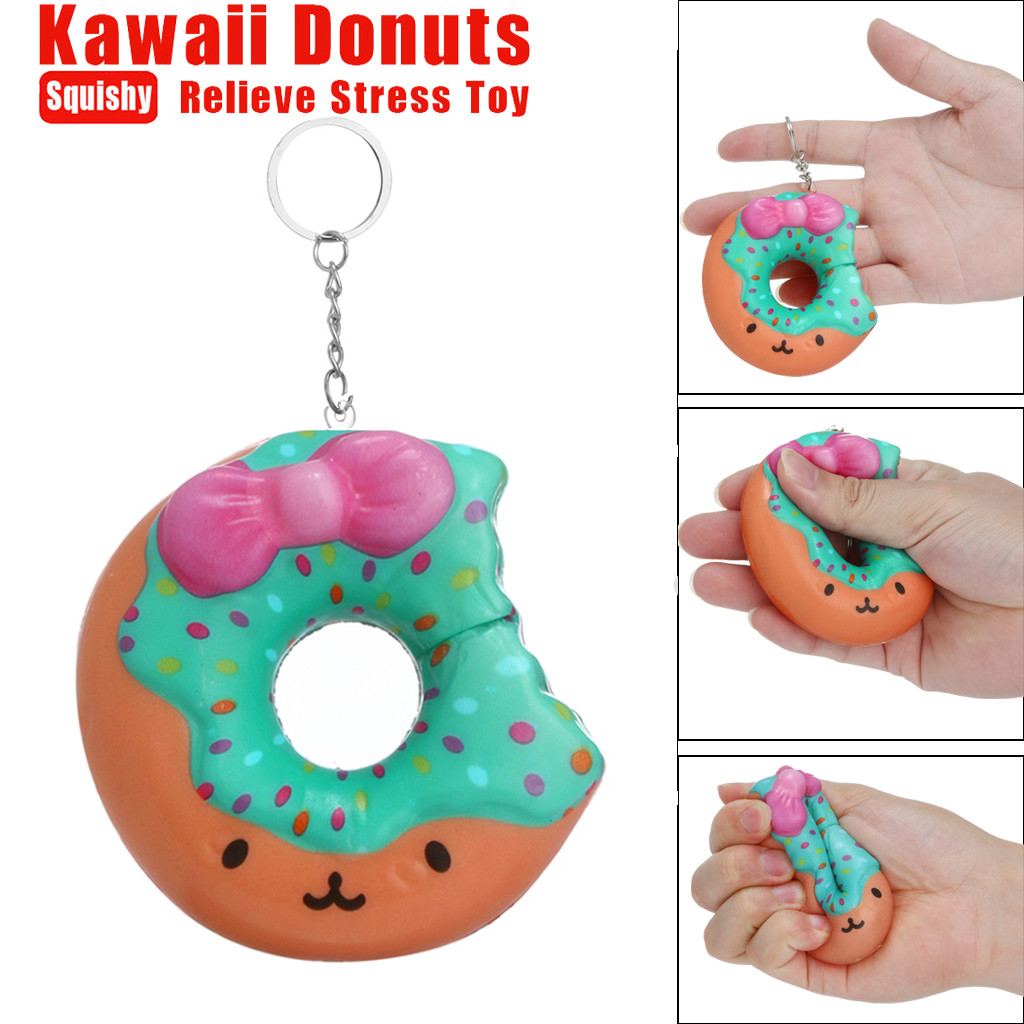 Cute Squishy Toys PU Stress Reliever Keychain Doughnut Squishies Kawaii Slow Rising Cream Scented Stress Relief Toys L527