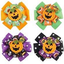 AHB Cute Halloween 4 Hair Bows for Girls with Smile Pumpkin Dot Printed Ribbon Double-layered Hairgrips Party Accessories