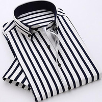 2017 Summer Hot Sale Fashion Men Vertial Striped Printed Short Sleeve Shirts,Pure Cotton Bamboo Fiber Casual Shirts Size S 4XL
