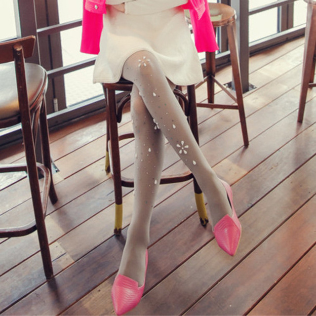 High-grade pearl flowers hand-hot drilling candy colored velvet pantyhose Bottoming tights