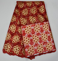 Free shipping (5yards/pc) Top quality handcut African organza lace fabric red and gold sequins lace fabric for party dress OP50