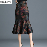 WREEIMA 20108 Spring Women New Style Irregular Print Zipper Skirts Fashion Brand High Waist Large Fishtail