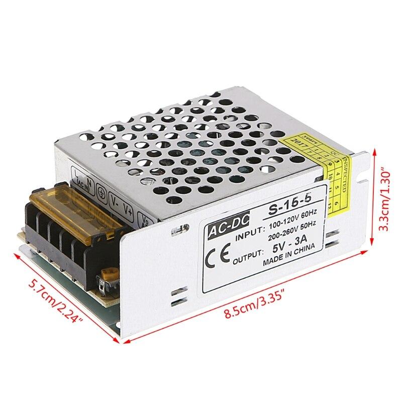 AC 100-260V To DC 5V 3A 15W Switch Power Supply Driver Adapter LED Strip Light  W315 4pcs 12v 1a cctv system power dc switch power supply adapter for cctv system