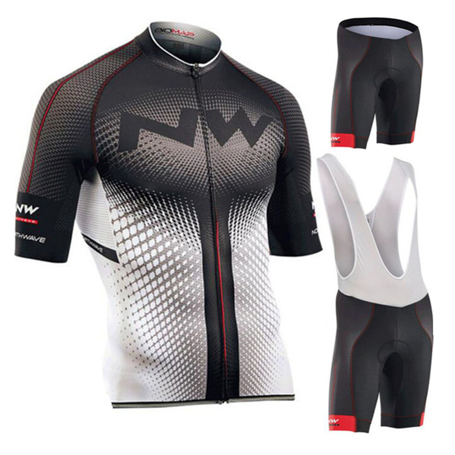 MTB 2019 Men Cycling Jersey Summer Short Sleeve Set Maillot 9D bib Bicycle Clothes Sportwear Shirt Clothing Suit NW Quick dry in Cycling Sets from Sports Entertainment