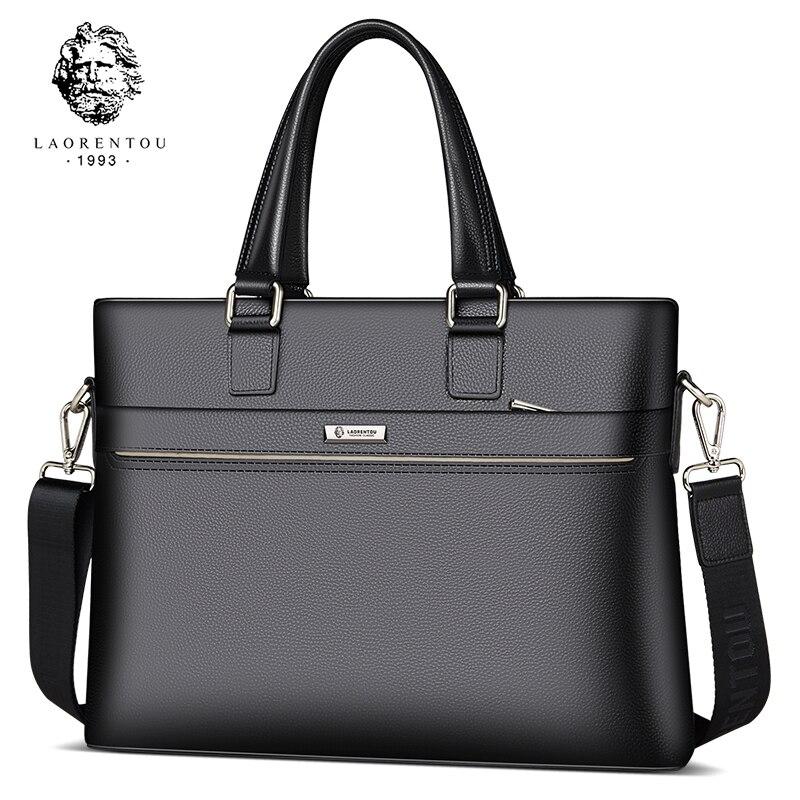 Laorentou Для мужчин сумки через плечо Портфели кожа коровы сумки на ремне работы сумки бренд высокого Ёмкость Бизнес сумка