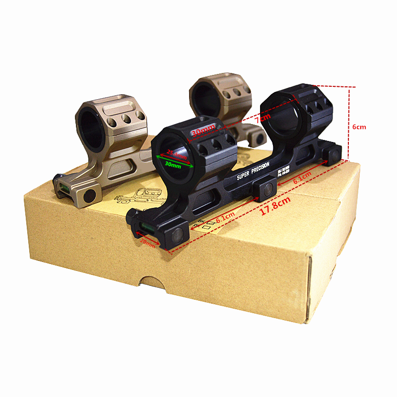 Hunterking 2017 New Arrival Quick Release 25mm/30mm Rifle Scope Mount Cantilever Black 0 MOA with Spirit Level With QD Mount L accu new quick release heighten mount for 20mm rifle weaver rails black