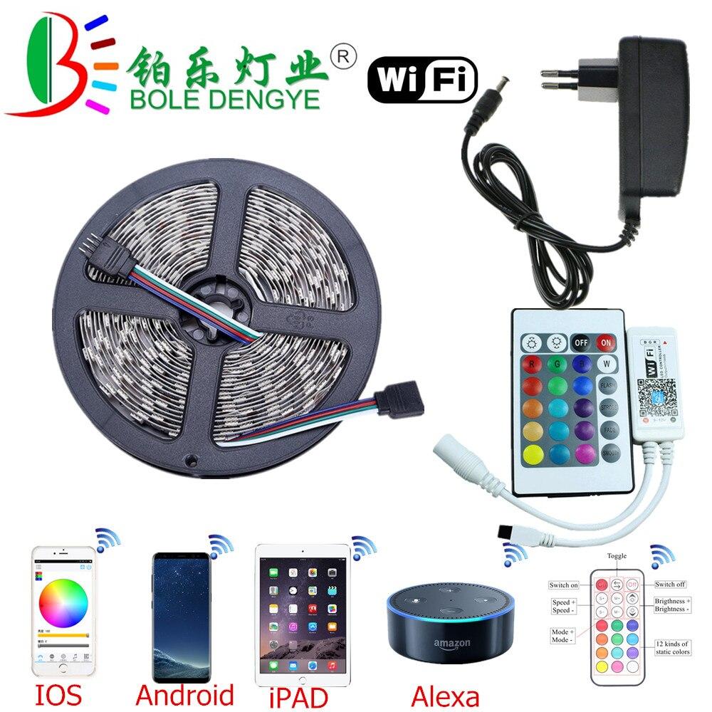 HTB16isYeIIrBKNjSZK9q6ygoVXam 5M WiFi Bluetooth LED Strip DC 12V SMD 5050 Non waterproof Flexible RGB Tape Ribbon Light Works With Amazon Alexa Google Assist