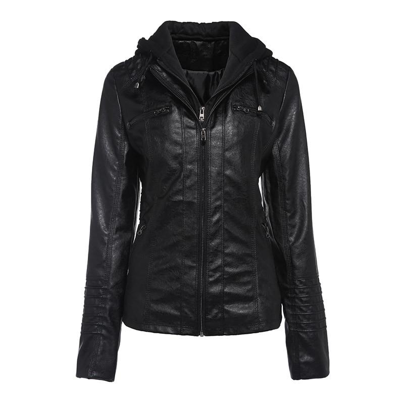 Coats Female Women Jackets Hooded Slim Black Solid-Zipper Plus-Size High-Street Winter